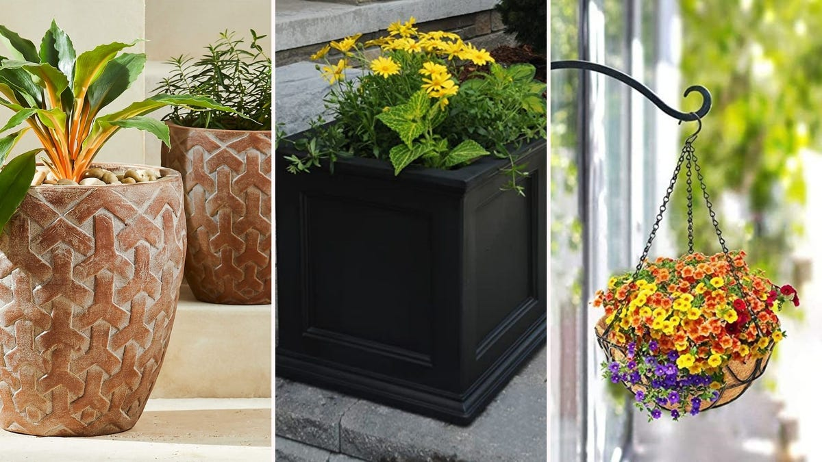 A tri-fold image of two terracotta planters, a black square planter, and a hanging planter.