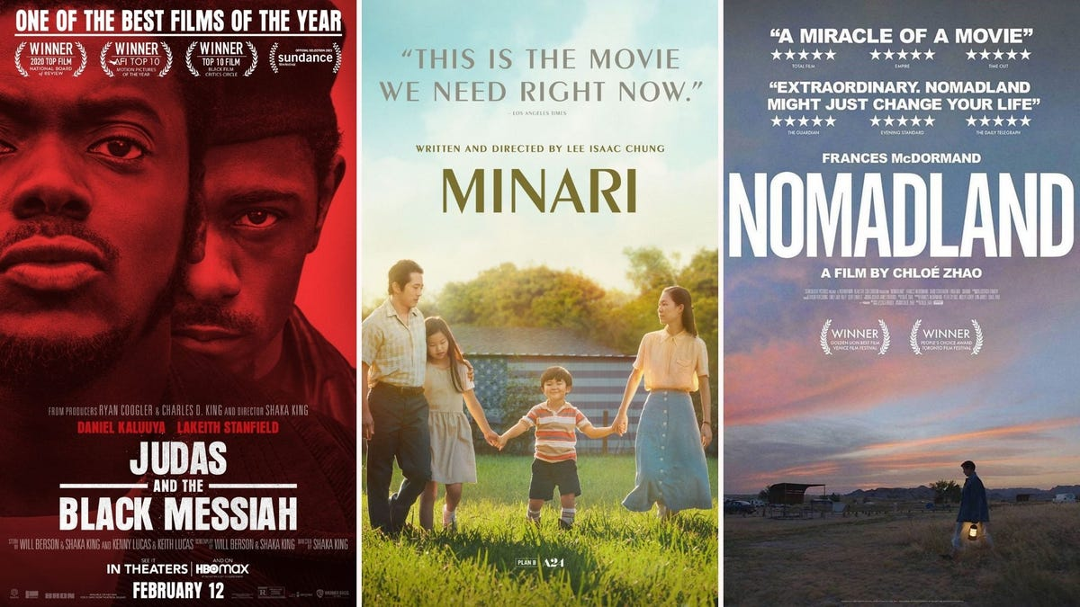 """Movie posters for """"Judas and the Black Messiah"""", """"Minari"""", and """"Nomadland"""""""