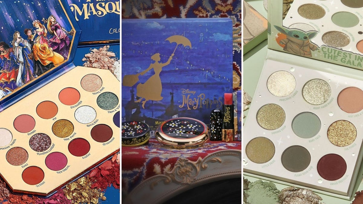 A Disney Princess eyeshadow palette, a Mary Poppins makeup kit, a Baby Yoda eyeshadow palette