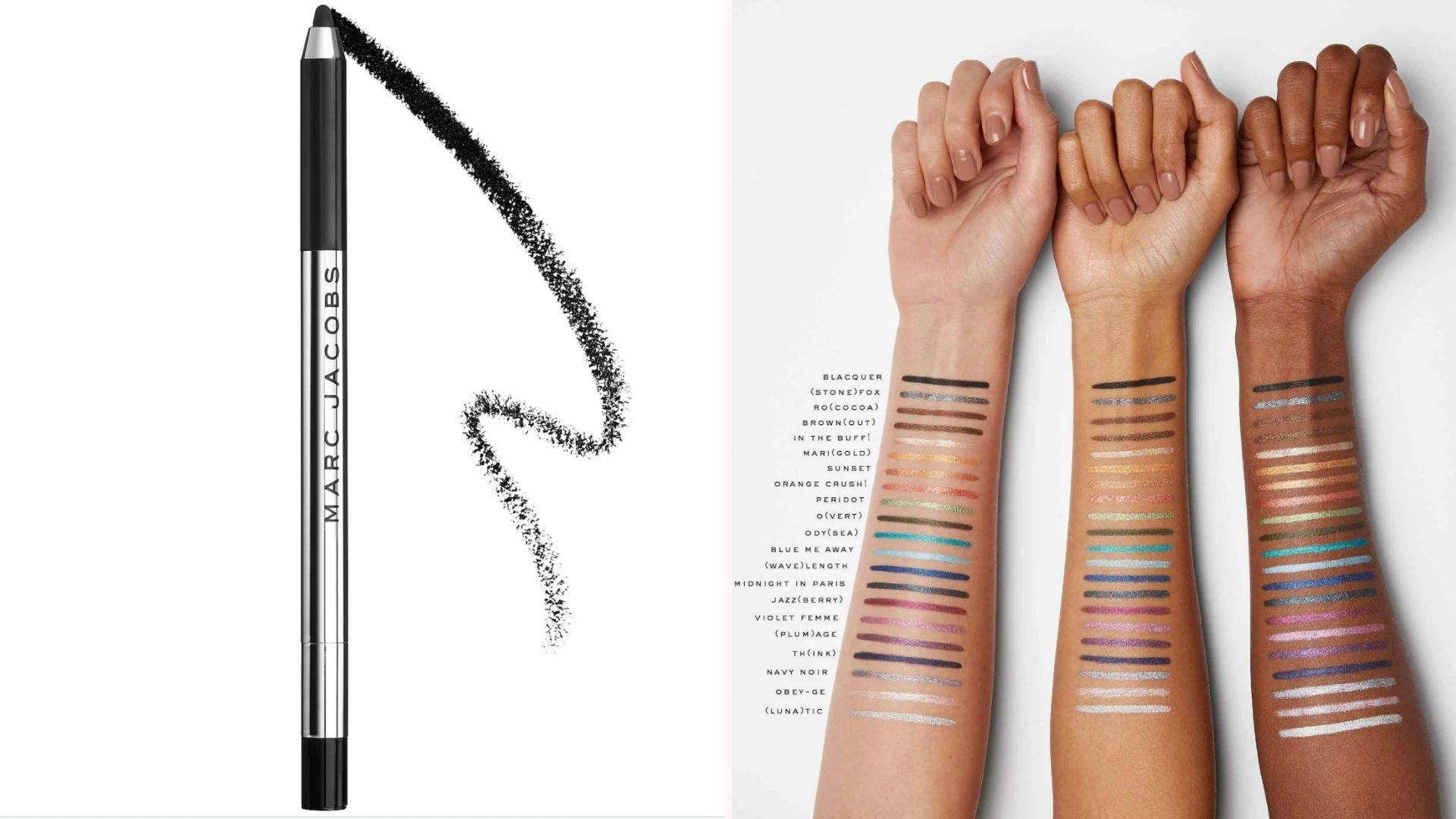 On the left, a black Marc Jacobs eye crayon on a white background, and on the right, three forearm swatches of eye crayons in many different colors.