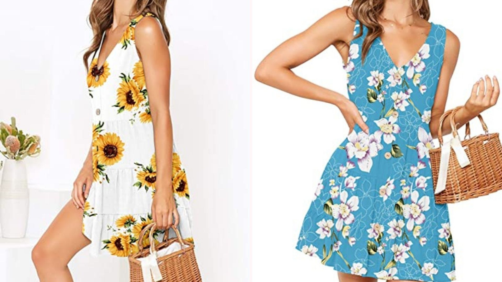 A woman in a sunflower print dress; a woman in a blue and white floral print dress