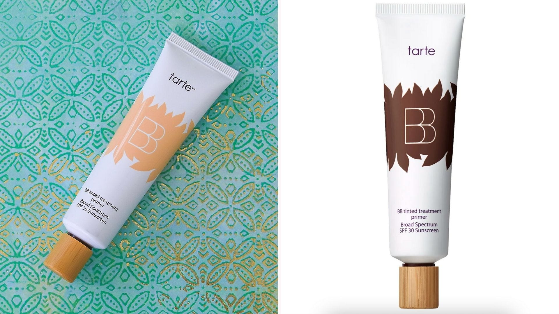 On the left, a bottle of Tarte Tinted Treatment Primer on a turquoise background, and on the right, a bottle of primer on a white background.