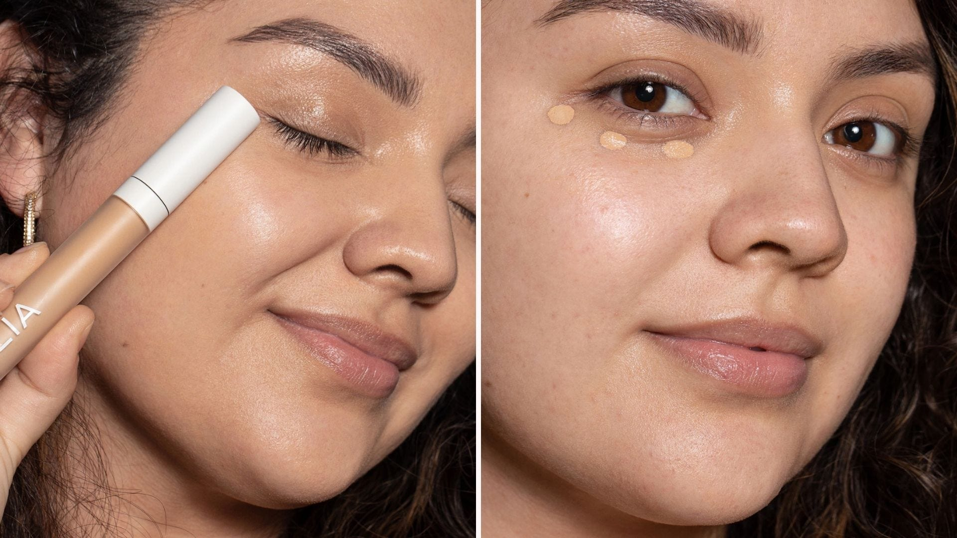 On the left, a woman holding ILIA serum concealer, and on the right, the same woman with the concealer dotted under her eyes.