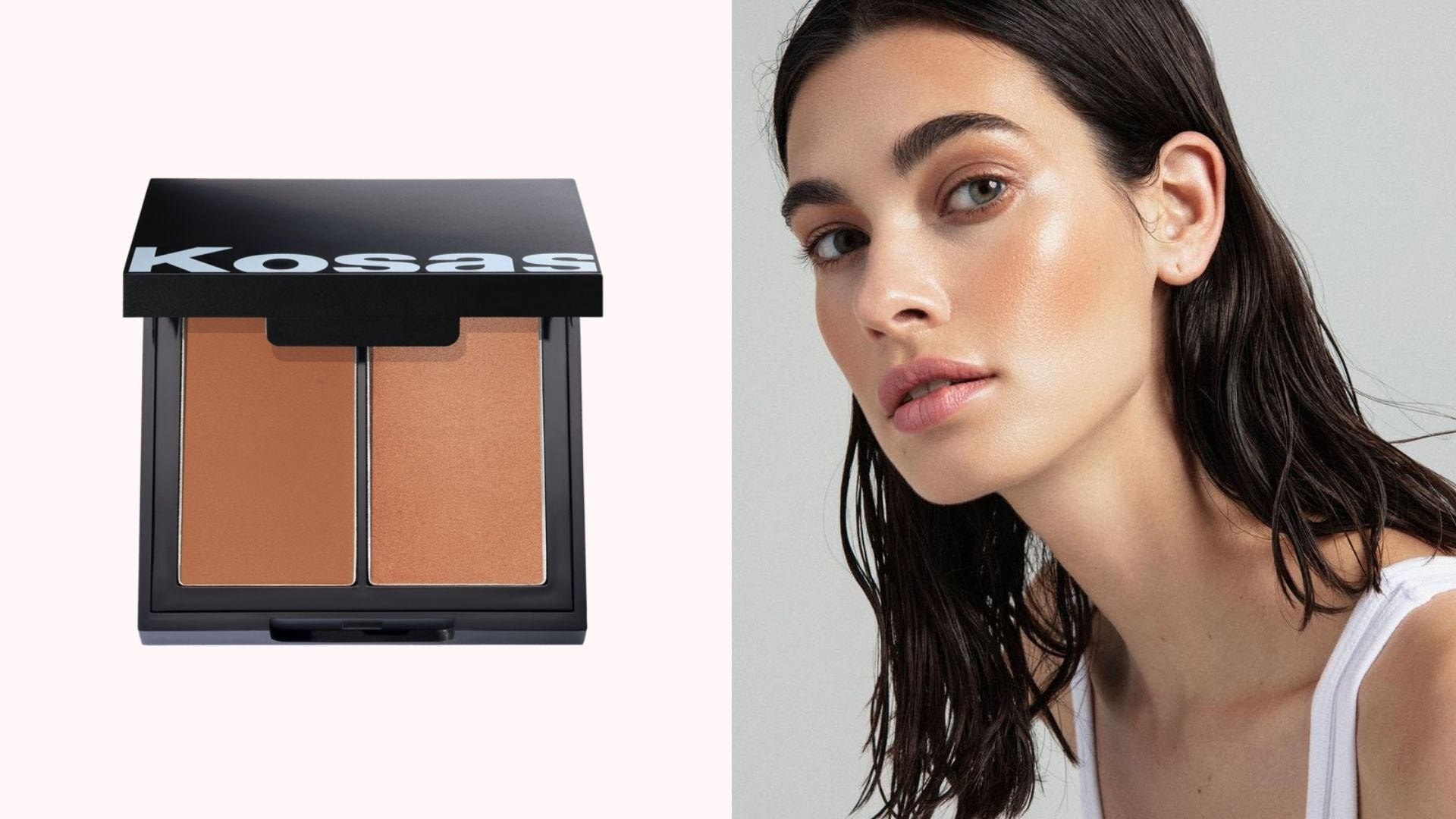 On the left, a Kosas Color & Light Palette on a white background, and on the right, a woman wearing the product on her cheeks.