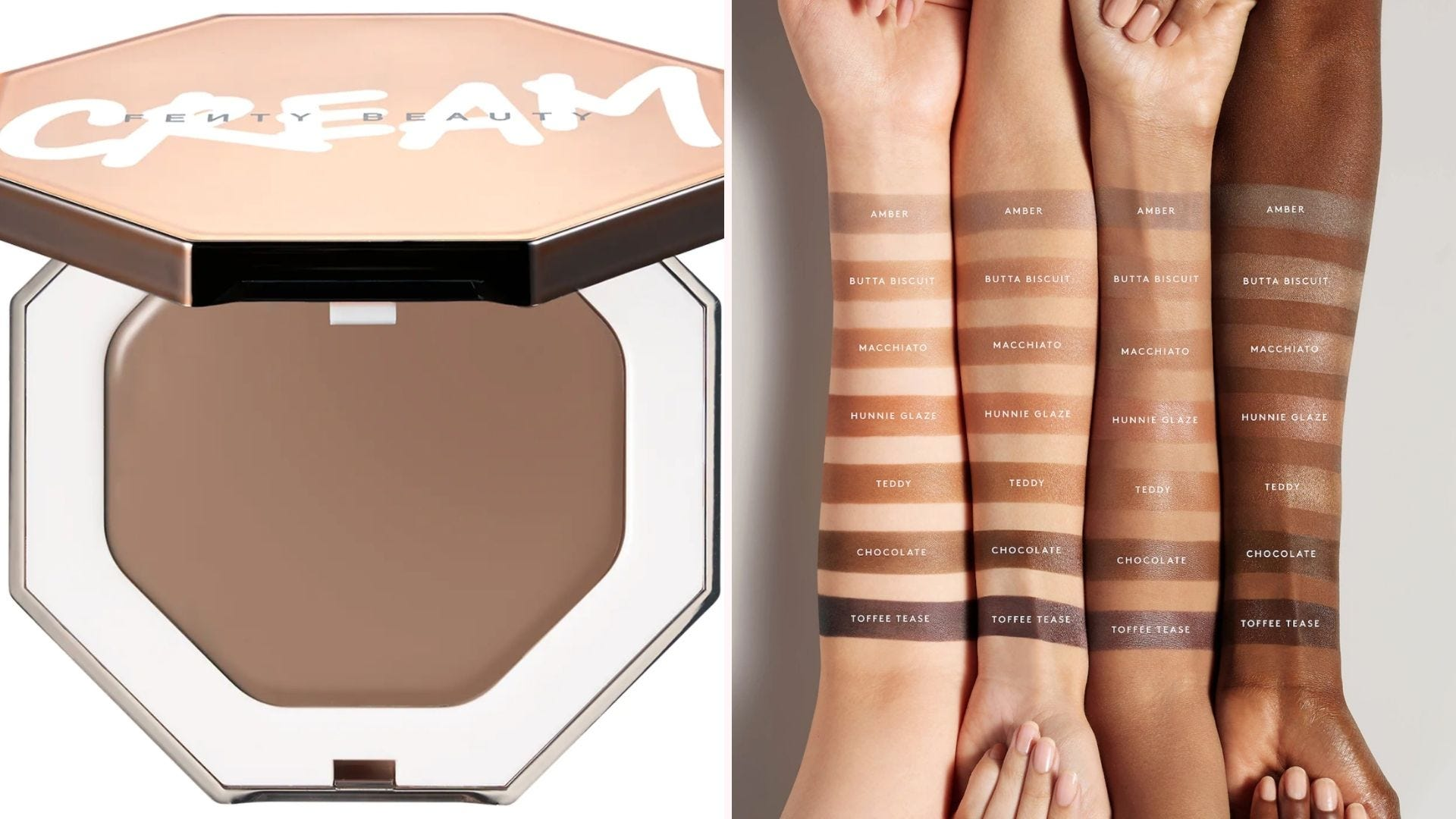 On the left, a Fenty cream bronzer on a white background, and on the right, forearm swatches of Fenty bronzer shades on four different skin tones.