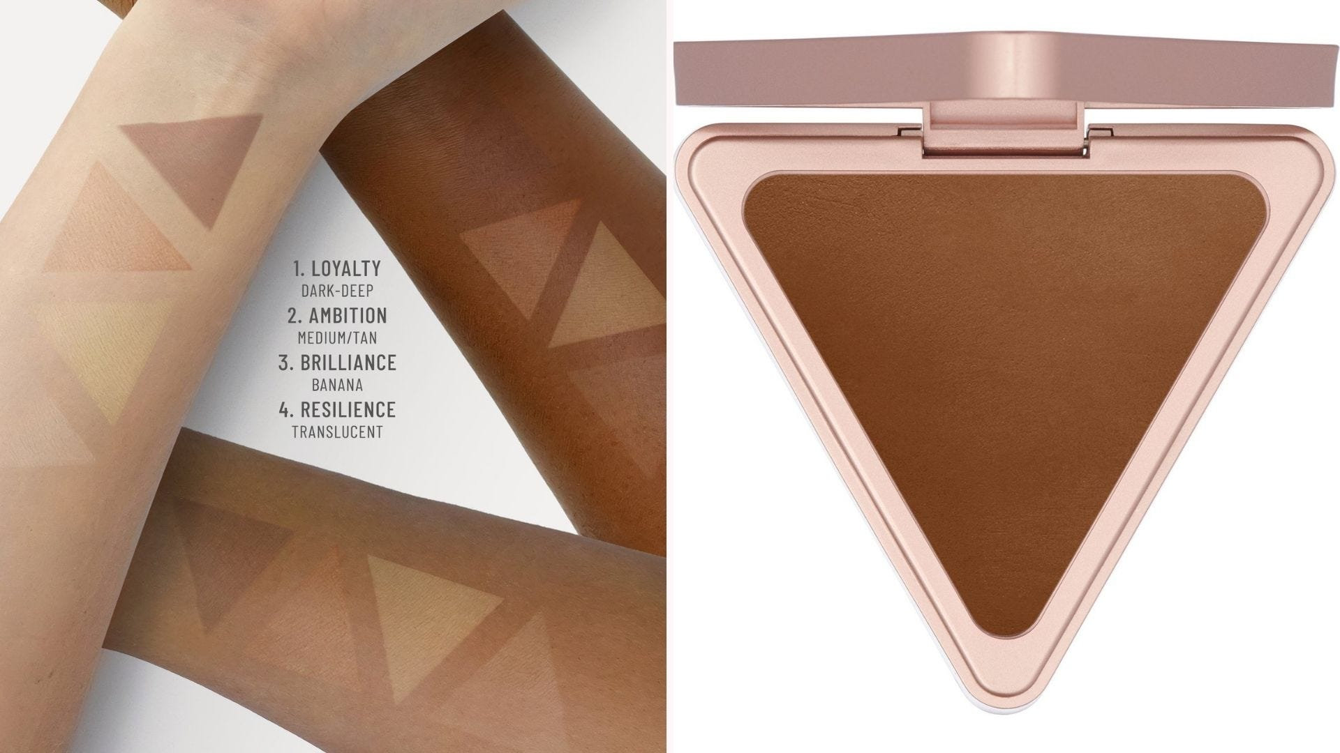 On the left, three forearm swatches of LYS setting powder on different skin tones, and on the right, a setting powder compact on a white background.