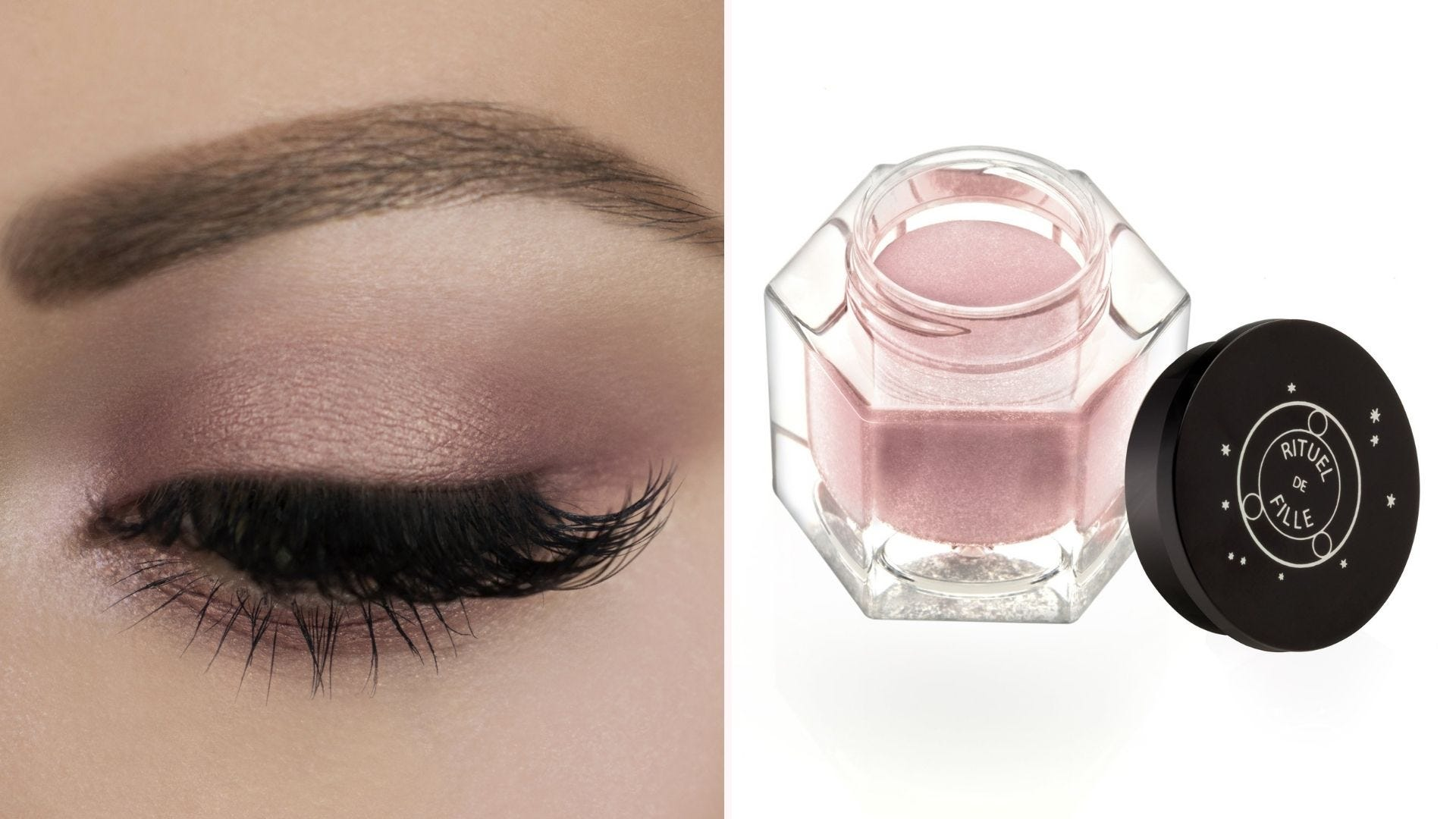 On the left, a closeup of an eye look using Ash and Ember Eye Soot, and on the right, a container of the eyeshadow on a white background.