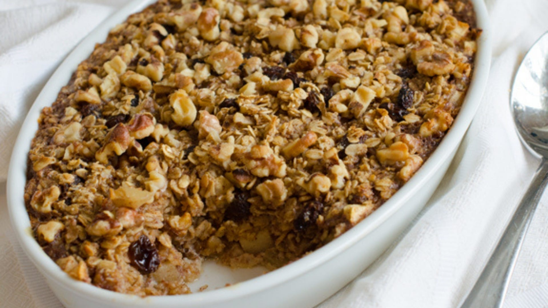 Casserole dish with baked oatmeal inside