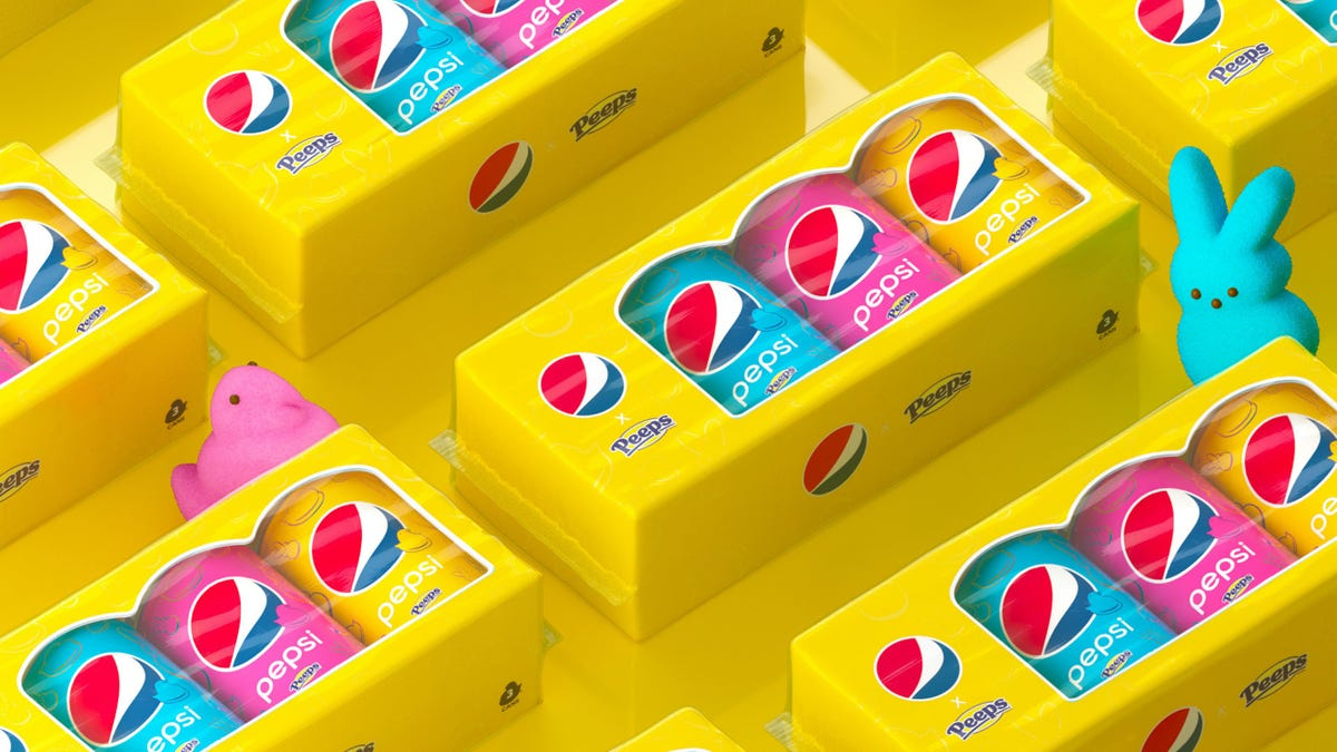 Packs of Peeps flavored Pepsi are lined up in brightly colored rows.