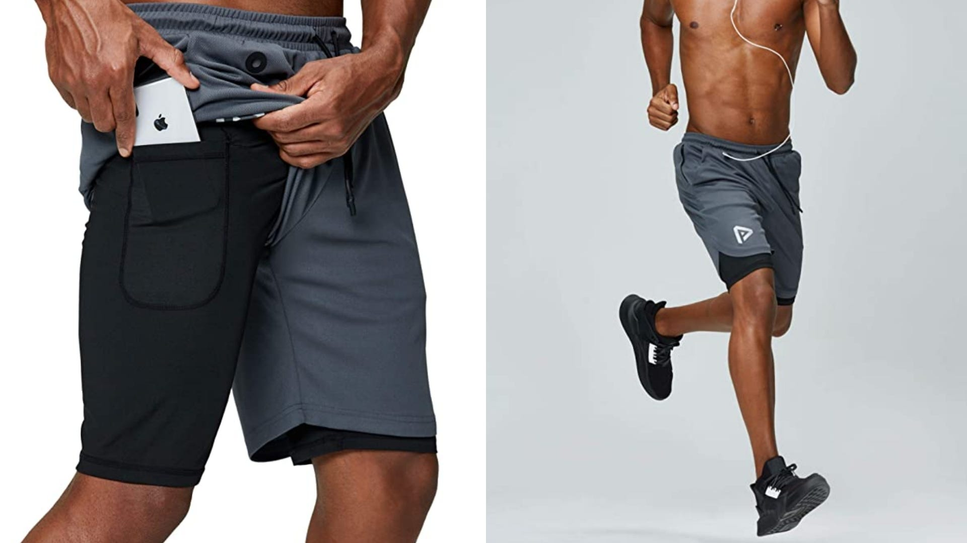 A man puts a phone in the pocket of his shorts and he is running.