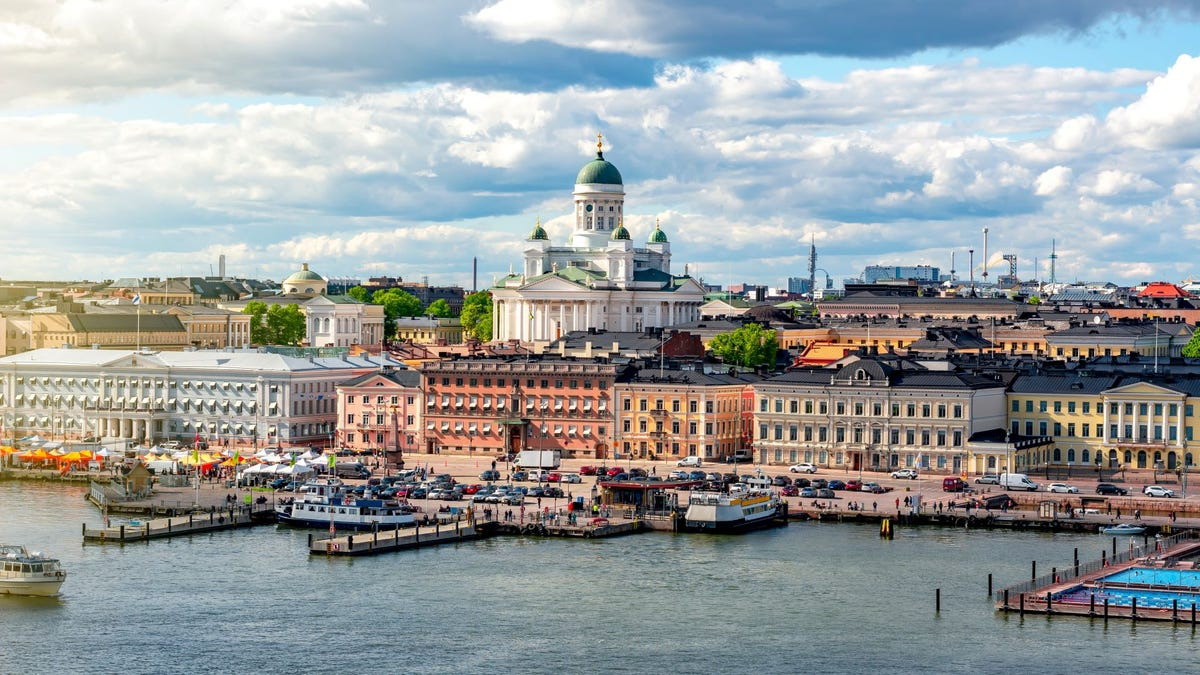 The Helsinki, Finland, cityscape featuring Helsinki Cathedral.