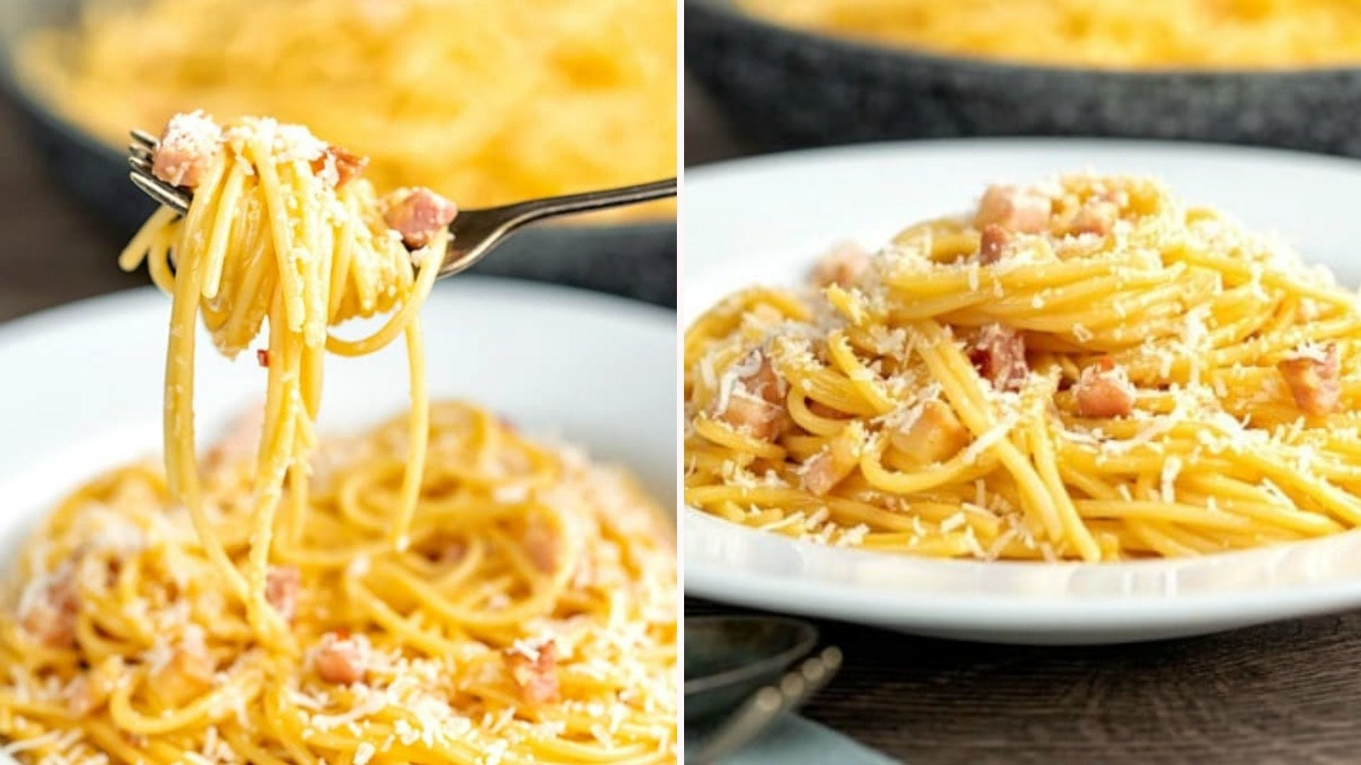 Two images: The left is of a fork picking up a freshly made pasta carbonara topped with fresh parmesan and the left image is of a plate of pasta carbonara ready to be eaten.