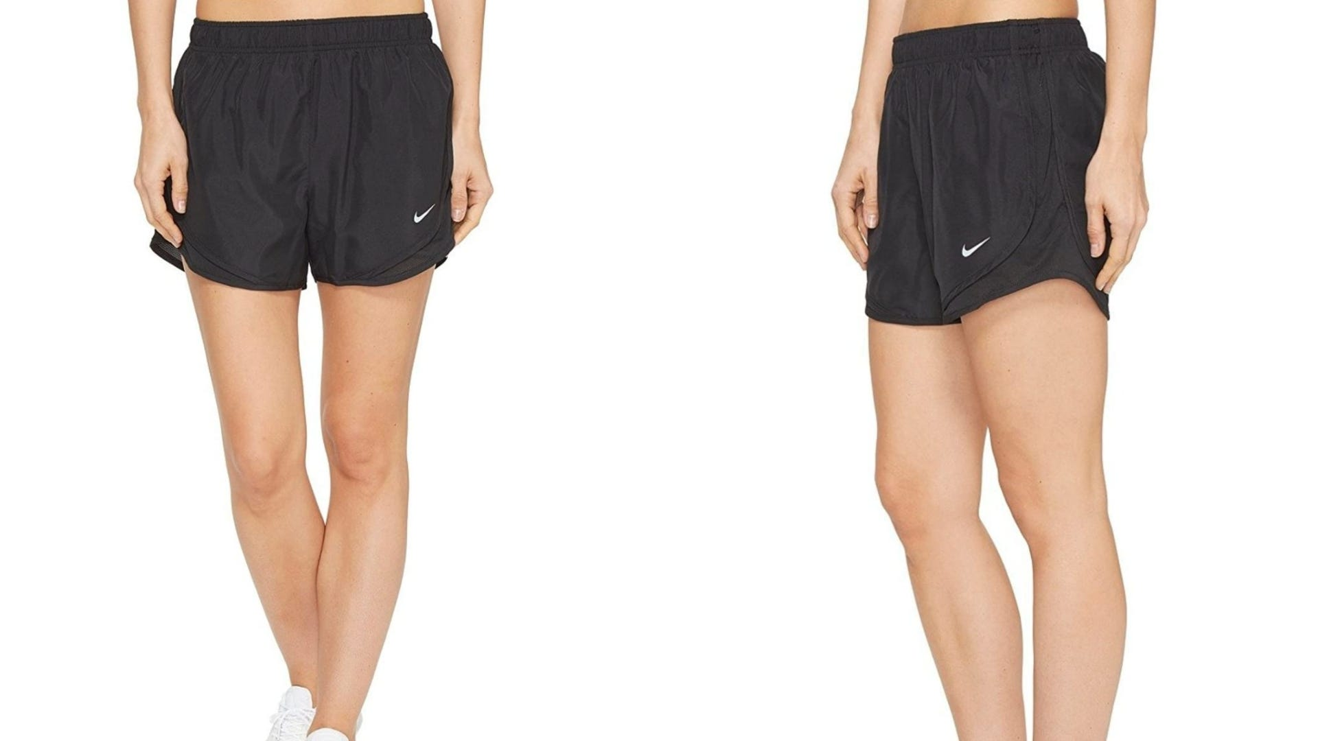 Two photos of a woman wearing a pair of black running shorts.