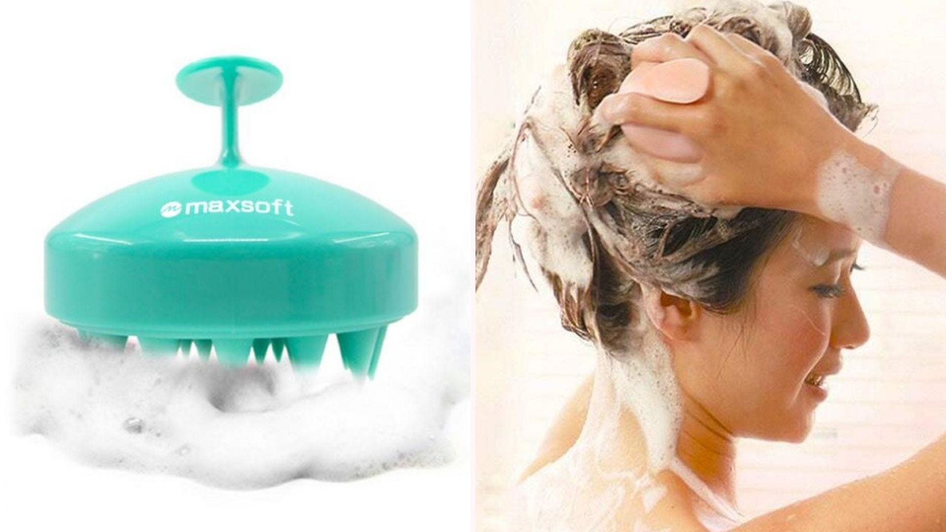 The Maxsoft Hair Scalp Massager Brush in light green and a woman in the shower lathering her hair with the pink massager.