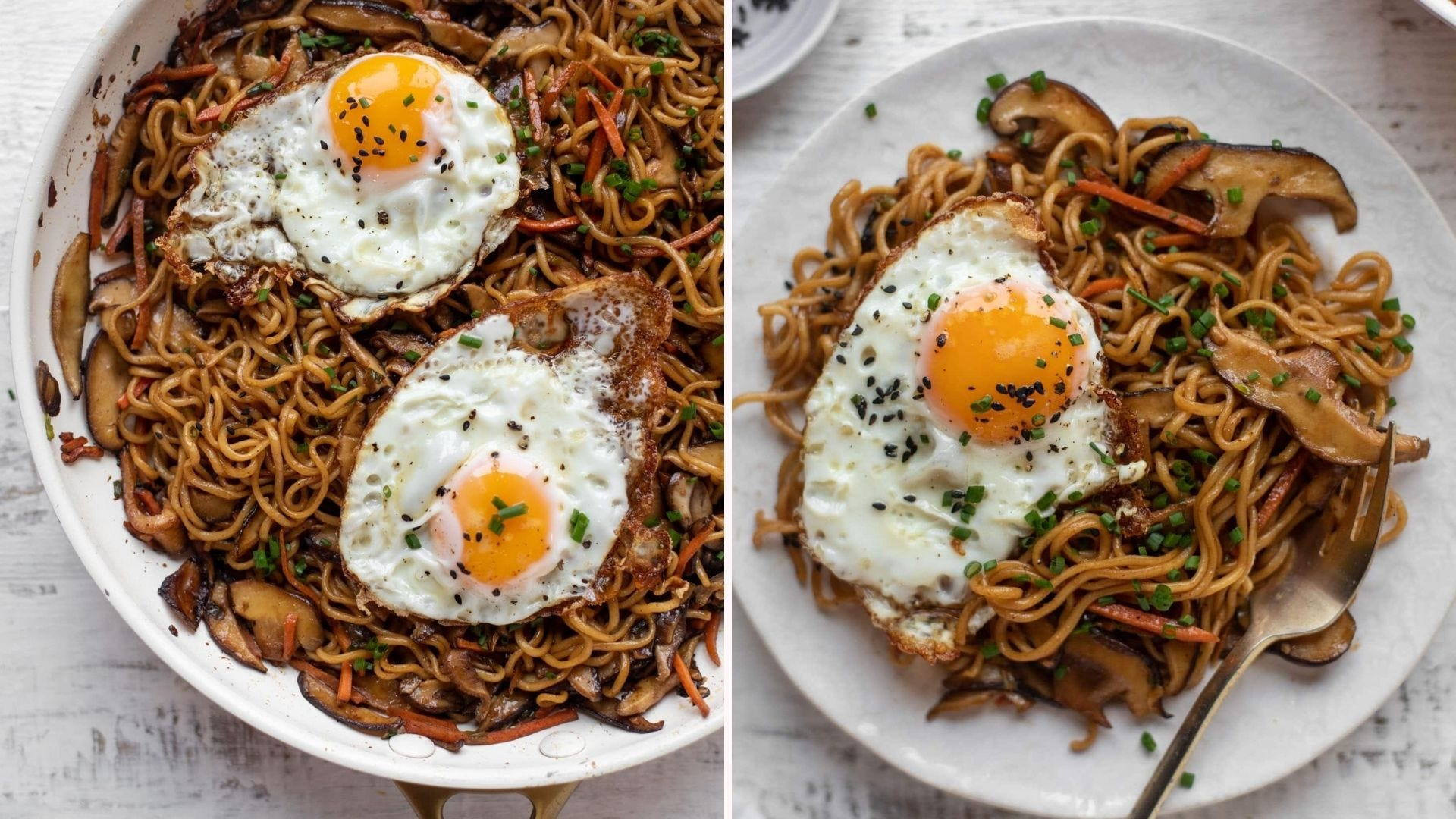 Two plates of ramen topped with fried eggs. The left image is of the entire meal in a skillet and the right image is a plated version topped with chopped chives.
