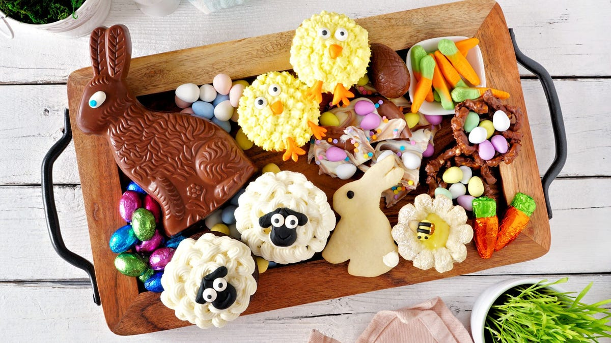 An assortment of Easter candy on a serving tray.