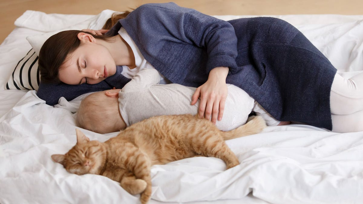 A mother, baby, and orange tabby cat all asleep on a bed.