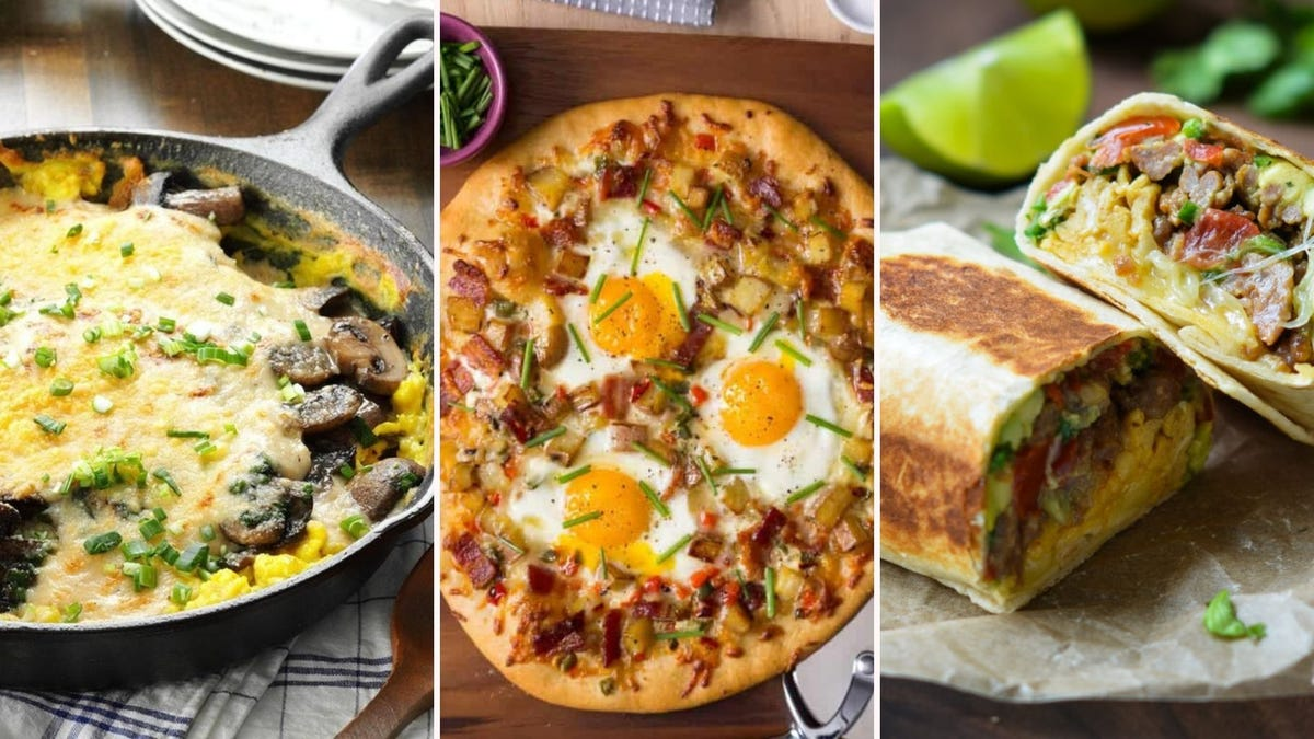 A skillet full of Creamy Egg and Mushroom Au Gratin, a Bacon Egg and Potato Breakfast Pizza, and a Breakfast Burrito.