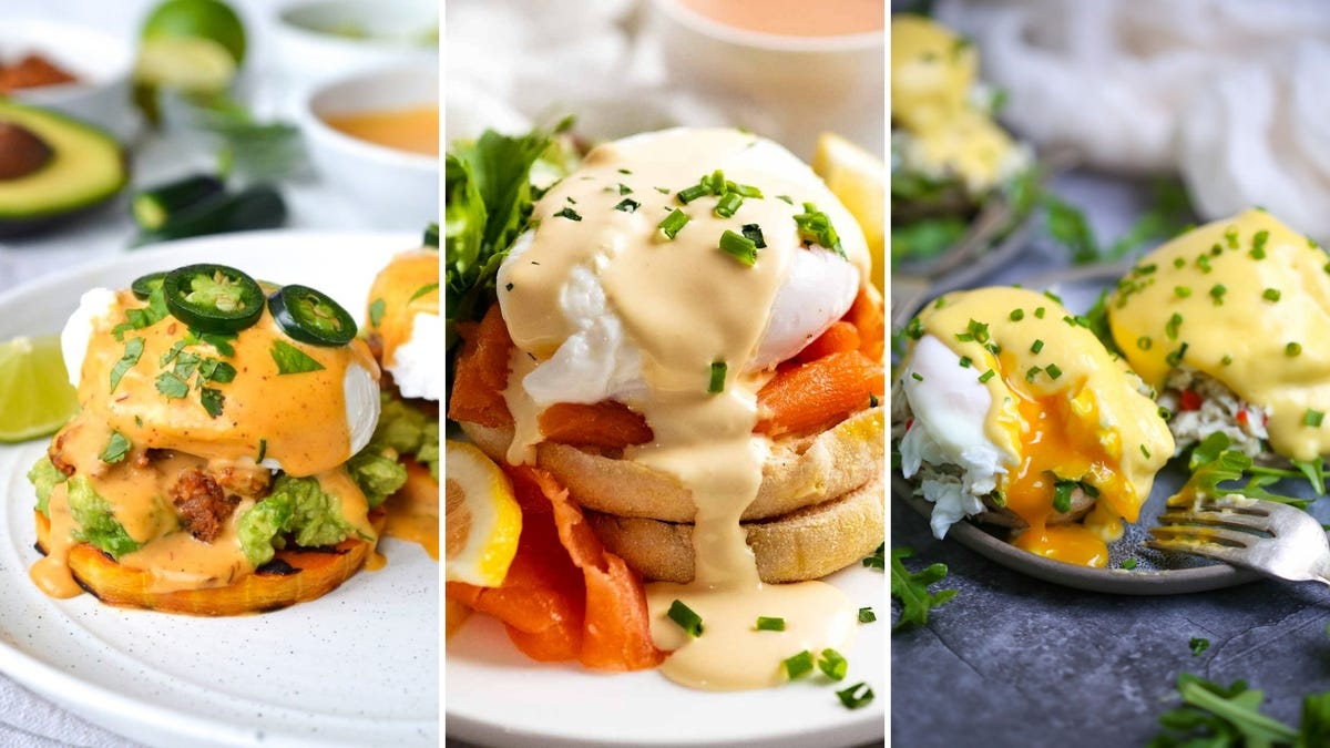 Tri-fold of three different recipes for Eggs Benedict.