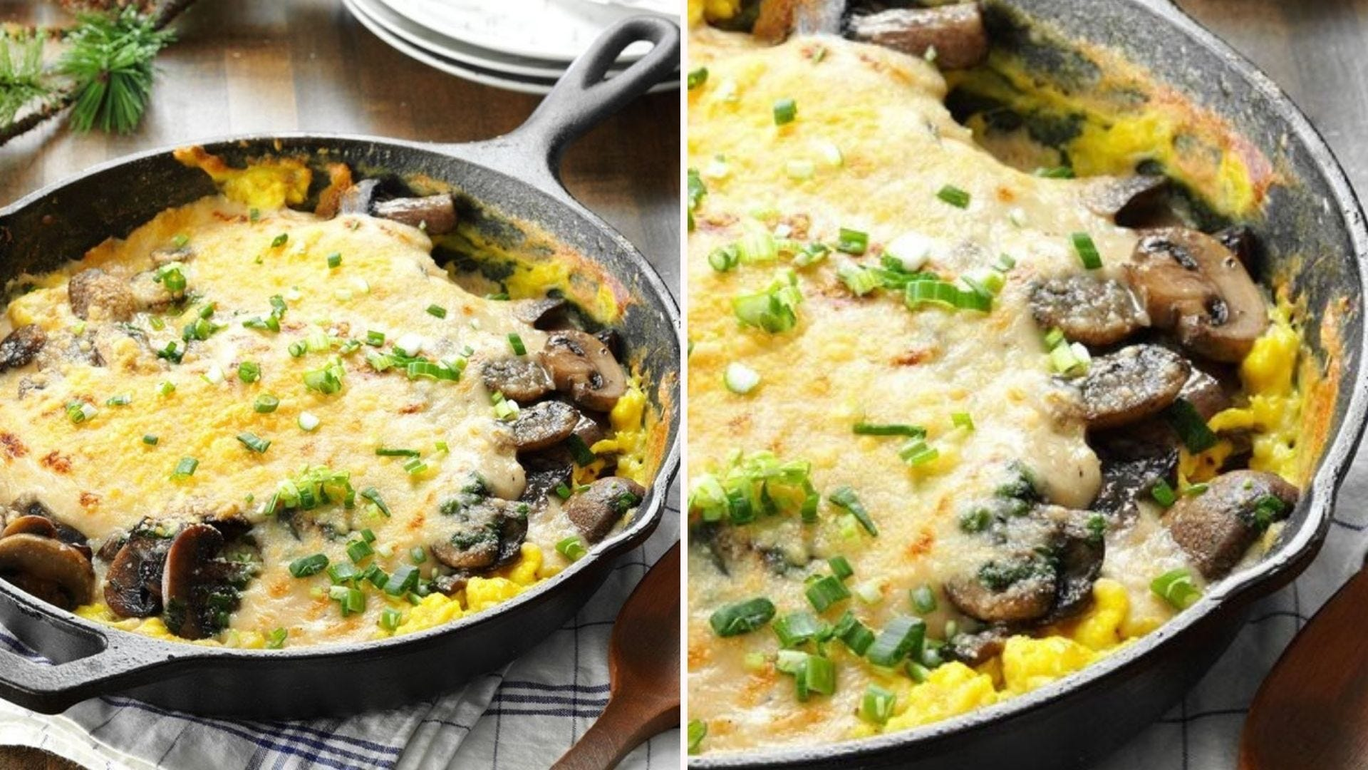 Two images: The left image is of creamy eggs au gratin filled with a parmesan cream sauce and garnished with green onions, and the right image is of a closeup of the same dish.