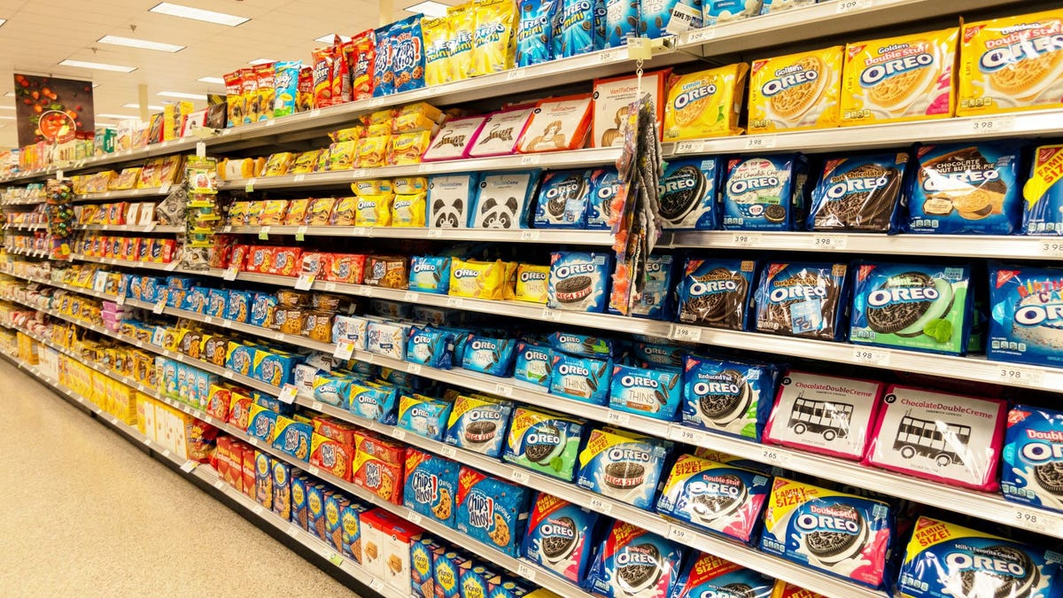 The cookie aisle at a grocery store.