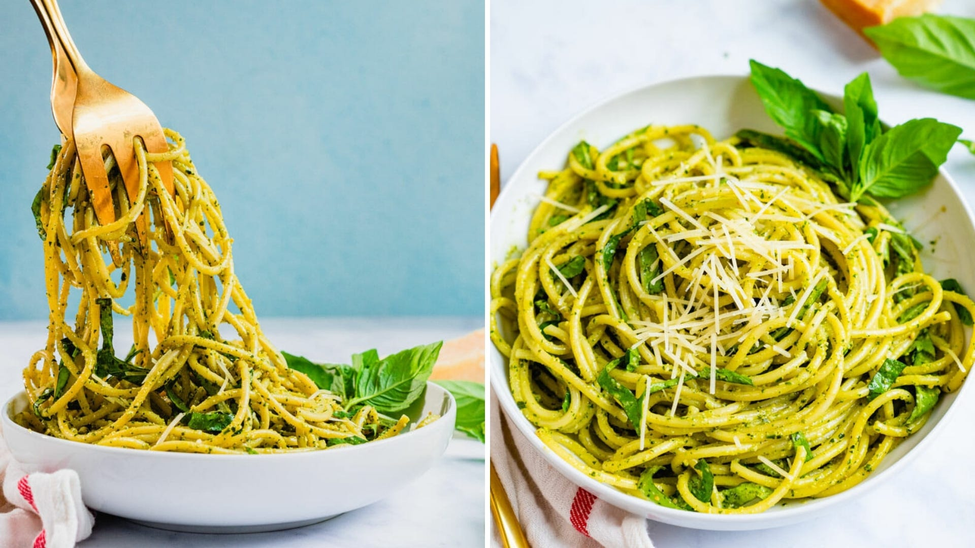 Someone pulls spaghetti out of a bowl with tongs; A bowl of pesto covered spaghetti.