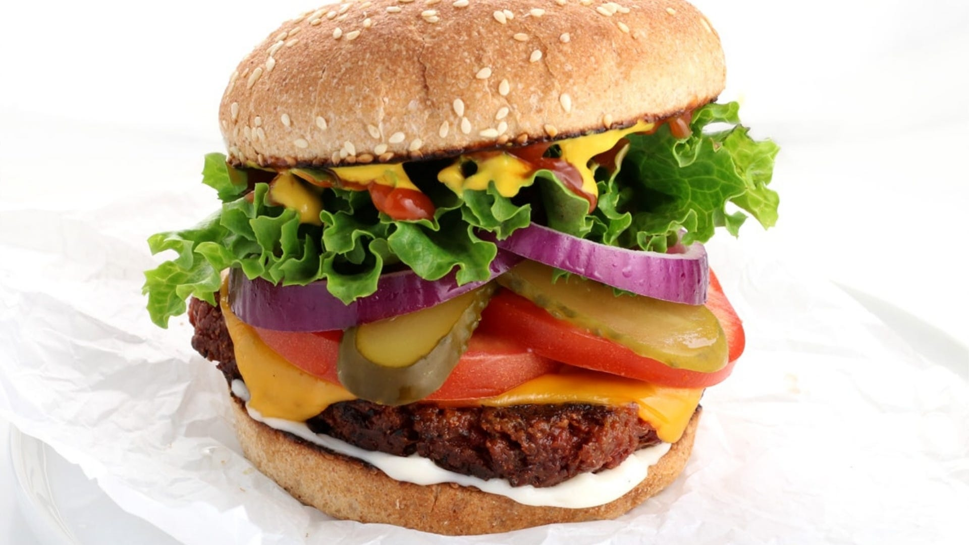 Vegan burger on white background
