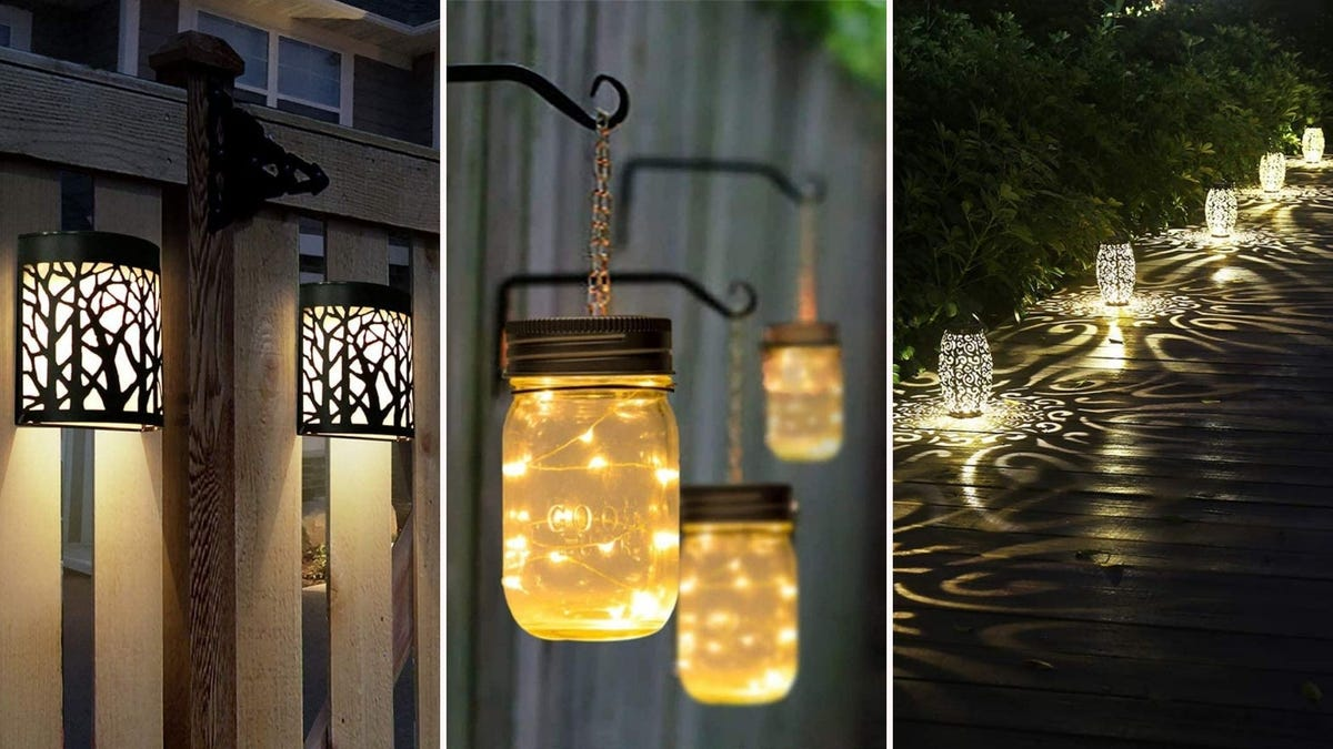 Wall lights by DenicMic, hanging jar lights by Gigalumi and lanterns by Esgarden.