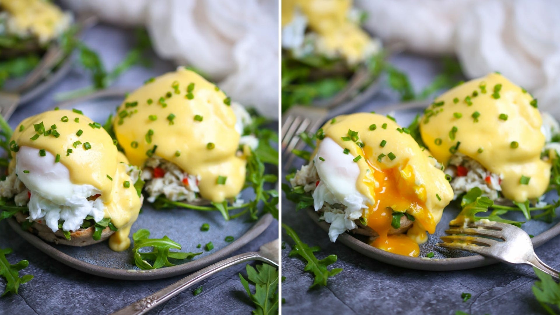 Eggs Benedict sitting on a plate made with crab meat salad and topped with chives.
