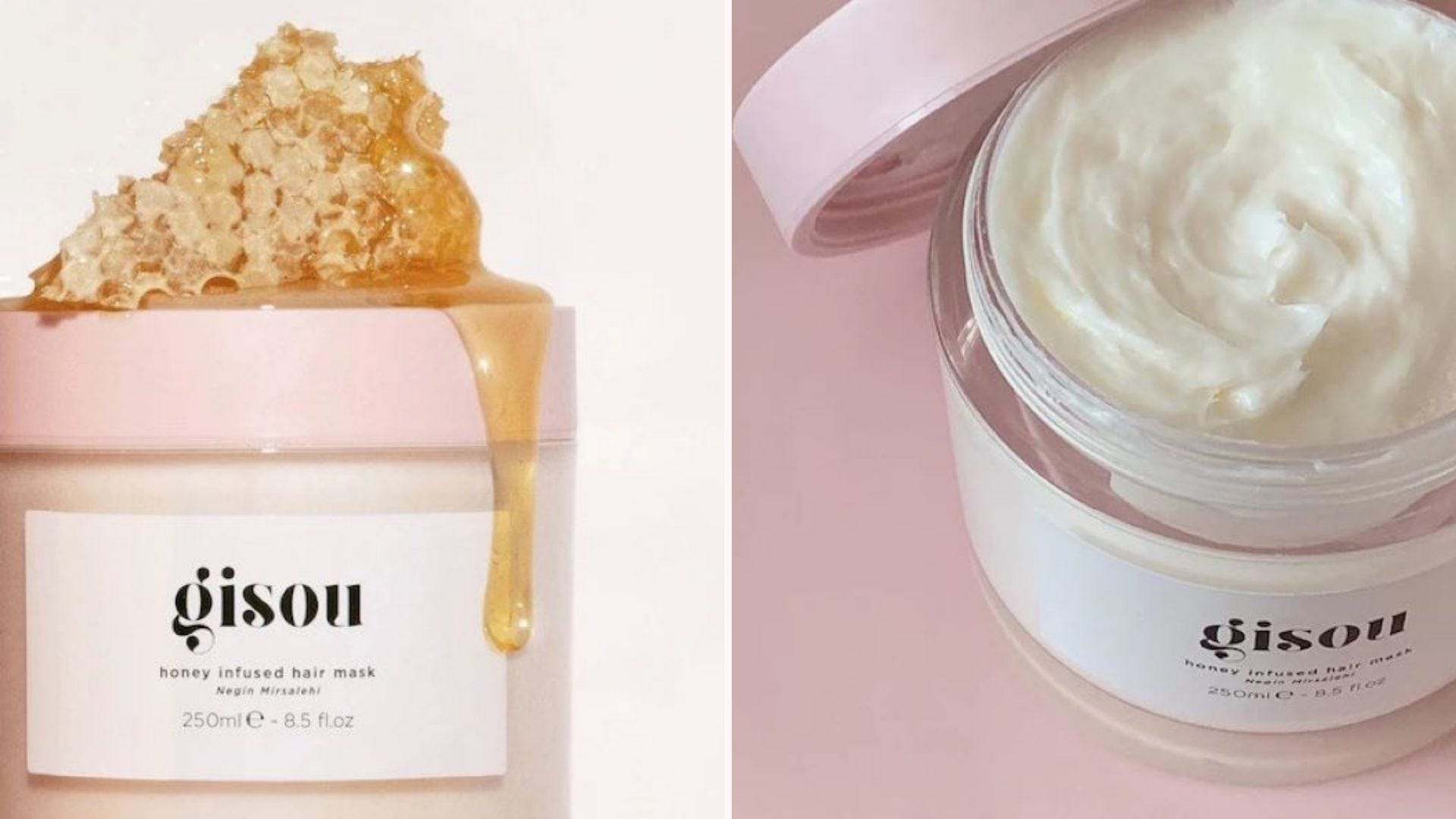 A jar of Gisou Honey Infused Hair Mask with a honeycomb sitting on top of it, and an opened jar showing the cream inside.