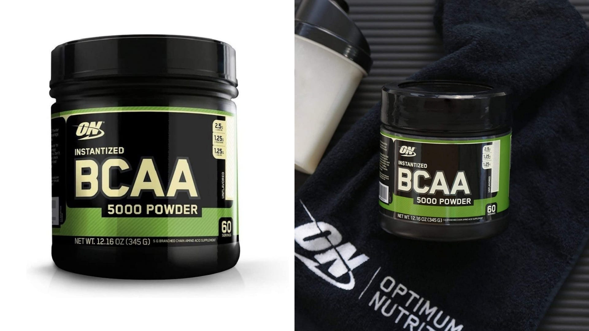 A black container of BCAA powder on a white background and the container on a black mat.
