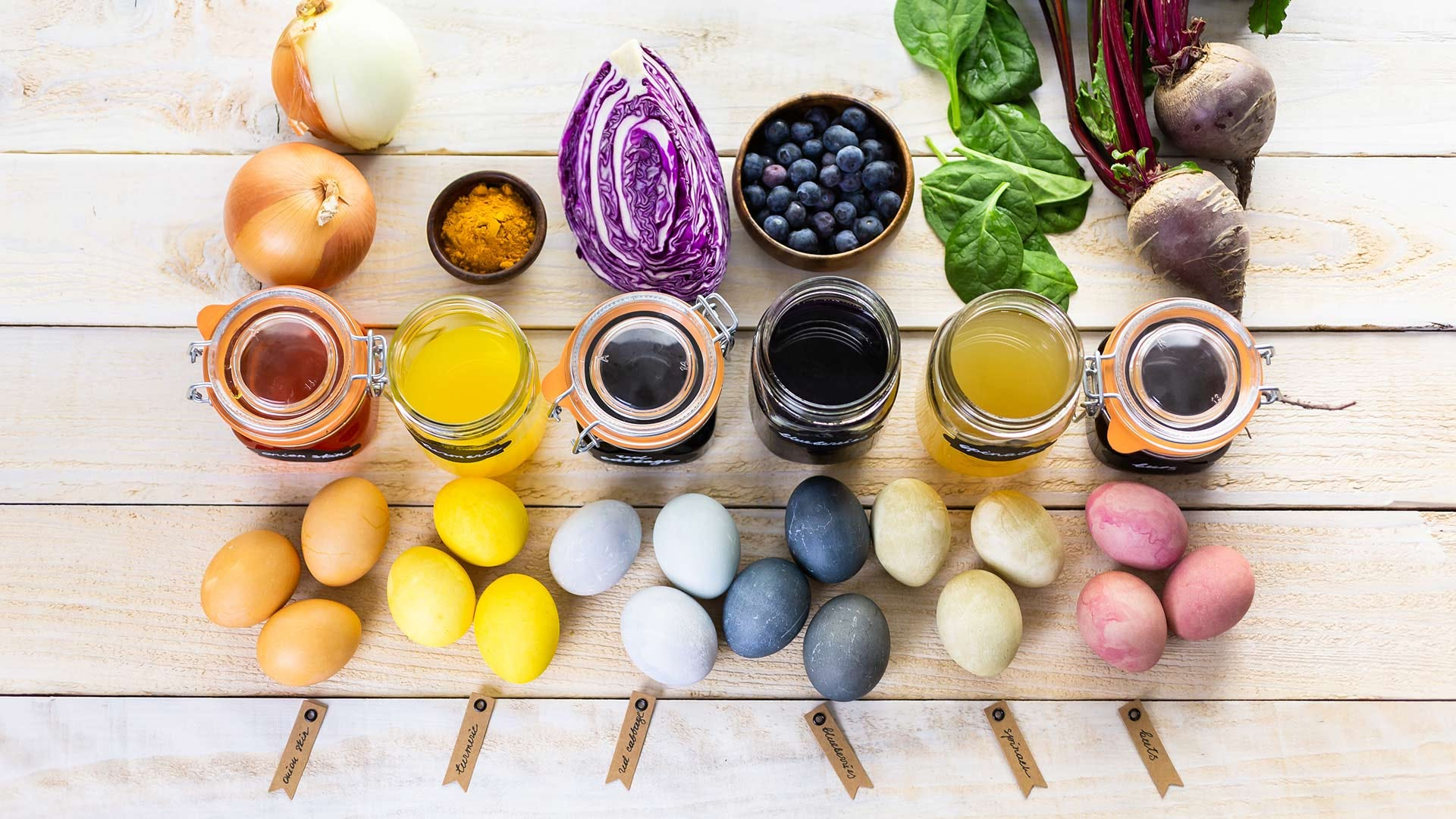 Examples of natural color dyes created with common vegetables, fruits, and spices.