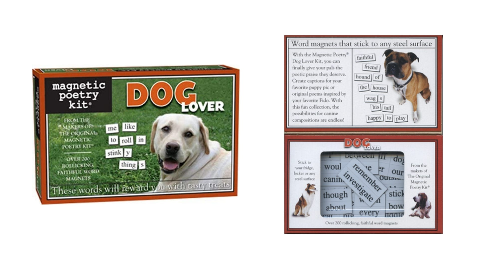 A front and inside view of the Dog Lover Magnetic Poetry kit