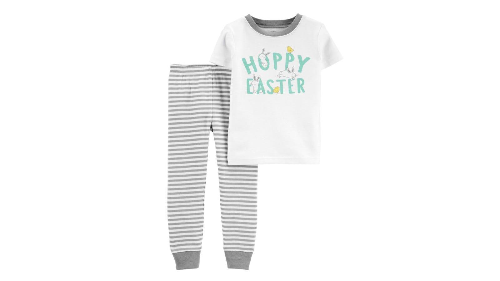 gray and white two piece pajamas