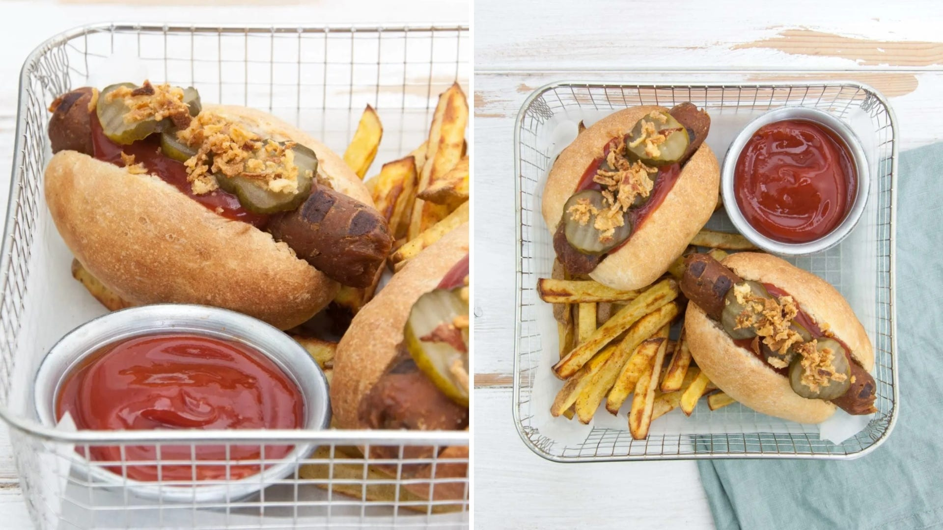 Two pictures of vegan hot dogs in basket