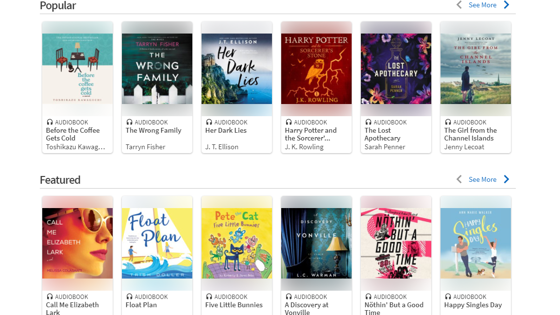 Some of the many audiobooks Hoopla has to offer.