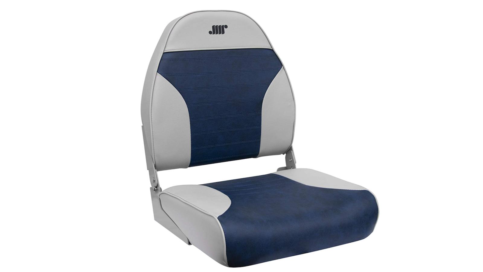 plush light gray and blue boat seat
