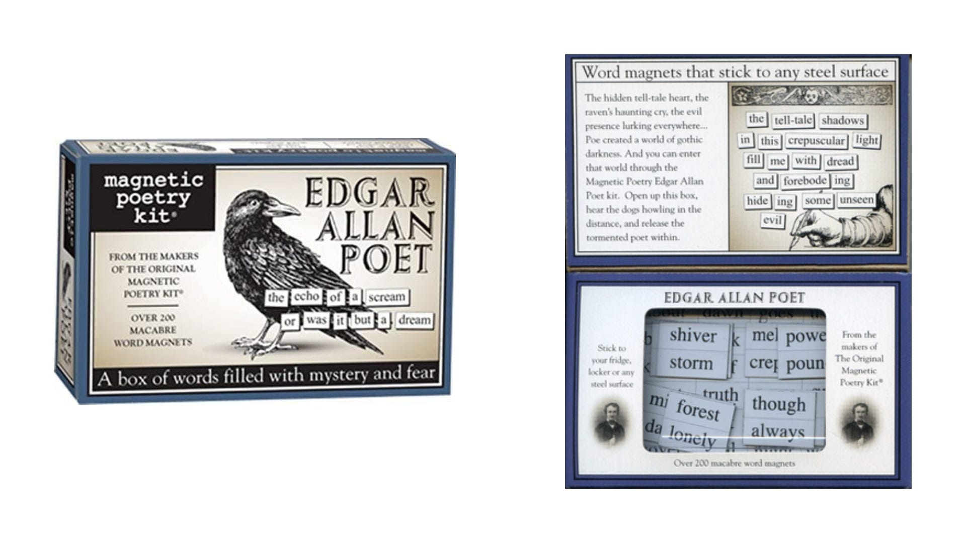 A front and inside view of the Edgar Allen Poet Magnetic Poetry kit