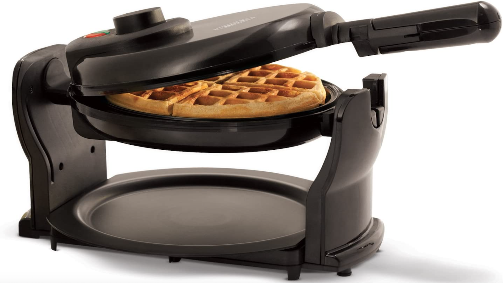 round waffle in a black waffle maker on a matching stand