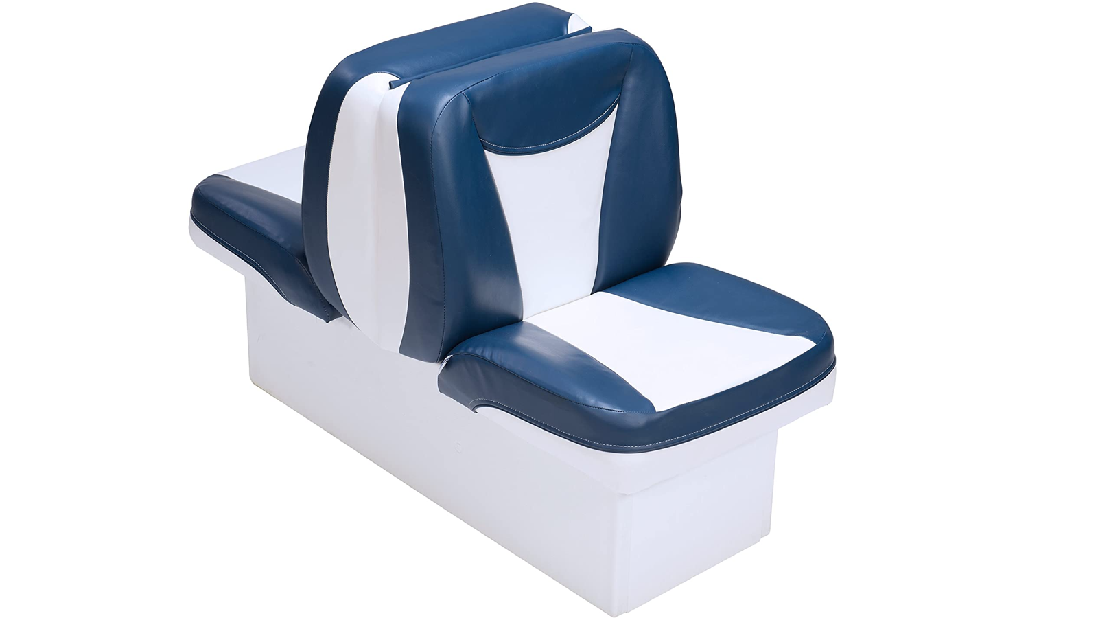 back-to-back blue and white padded boat seats