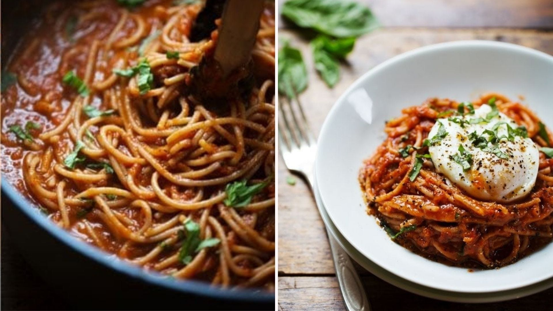 Two images of spaghetti marinara: the left image is of spaghetti being tossed in red sauce and the right image is of a plate of spaghetti topped with a poached egg, cracked pepper and fresh basil.