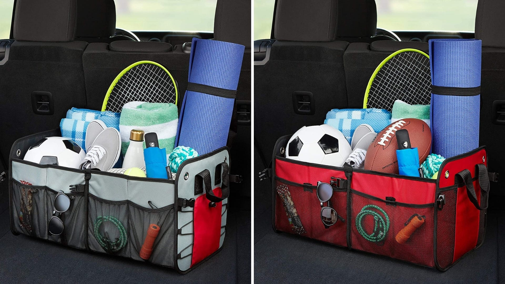 Both a gray and red car organizer sit in the back of a trunk filled with sports gear