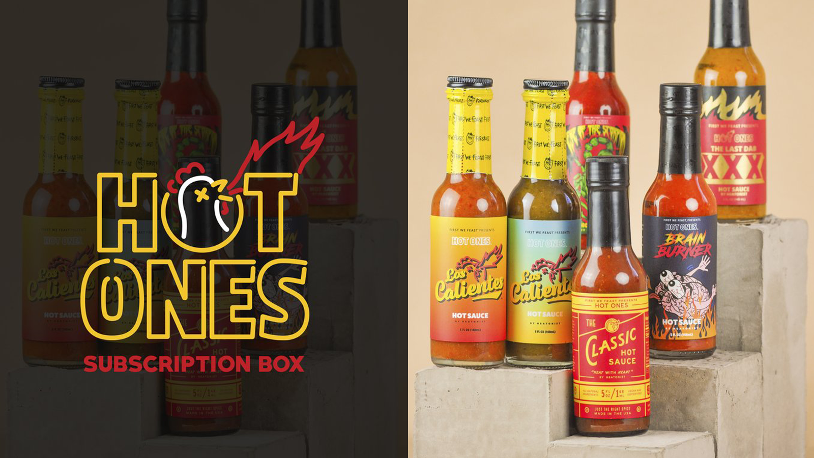 Hot Ones logo with subscription box sauces