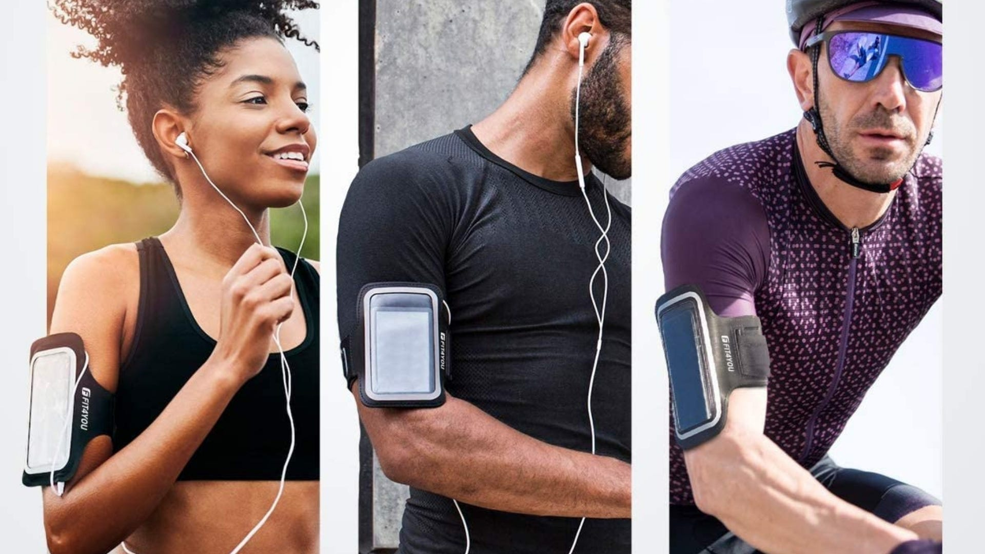 Three people working out while wearing a cell phone armband.