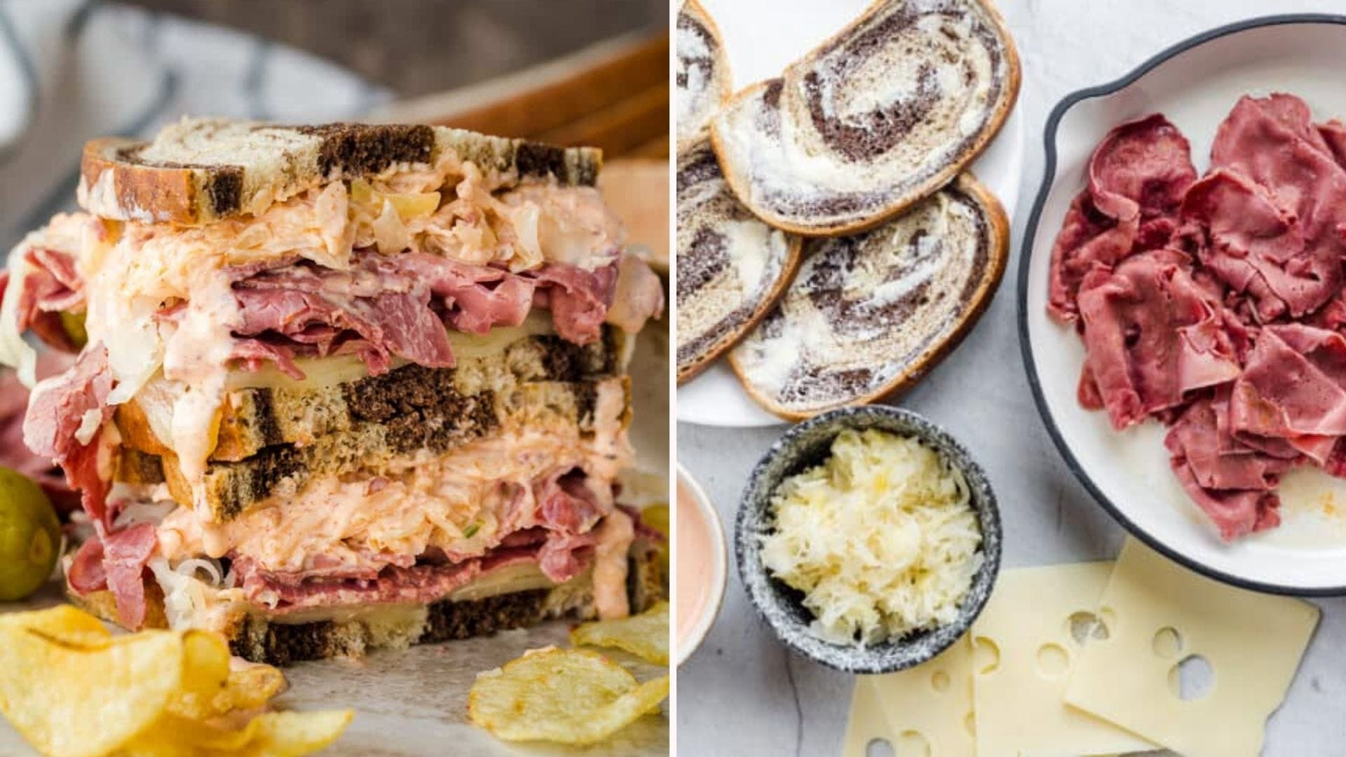 Two side by side images of a homemade Rueben sandwich. The left image is of a sandwich sliced in half and stacked high with Russian dressing dripping down, with kettle cooked chips surrounding the sandwich. The right image is of buttered rye bread, sliced cheese, corned beef and sauerkraut in a bowl.