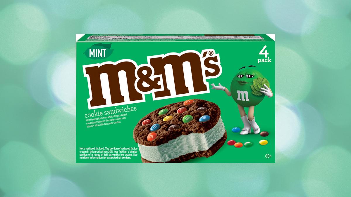 The M&M'S mint chocolate chip ice cream sandwich box.