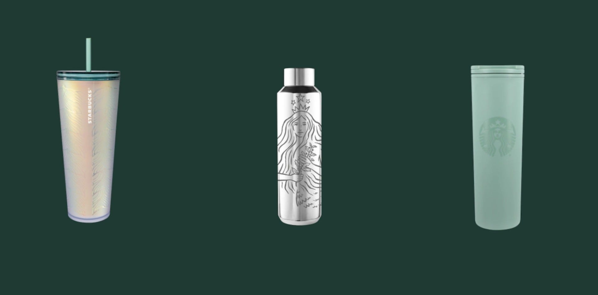 The Starbucks cold cup, stainless steel water bottle, and mint tumbler.