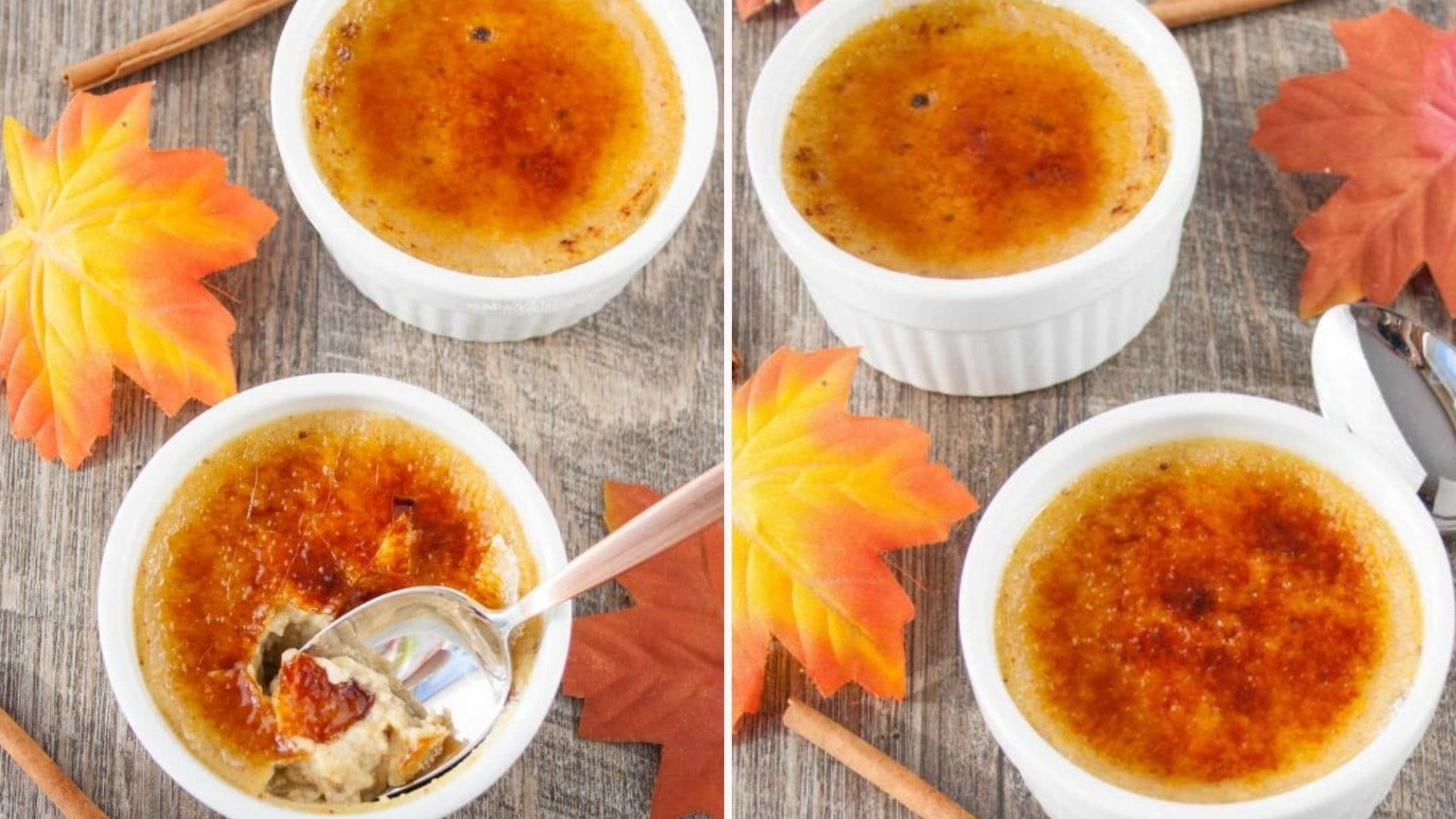 Two images displaying maple spice creme brulee with multiple faux fall leaves and cinnamon sticks. The left image is a close up of the inside of the custard with a spoon scooping out a bite sized amount.
