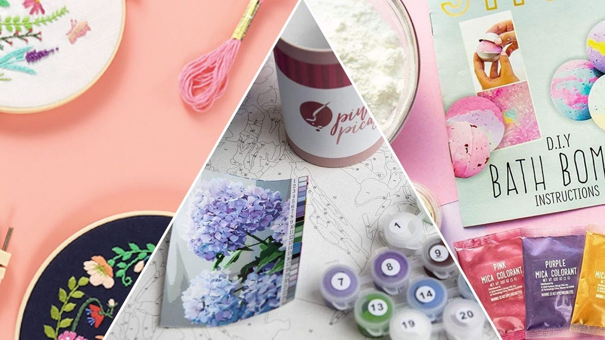 DIY kits for embroidered cloth, paint by numbers, and bath bombs