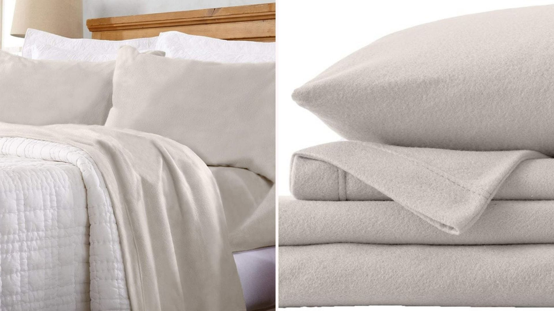 Great Bay Home Ivory Sheets on a bed and a set folded and stacked.